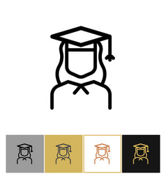 graduate icon female academy graduation woman vector image