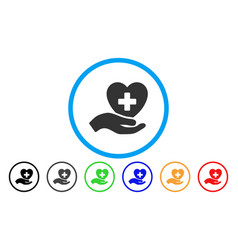 hand offer cardiology rounded icon vector image