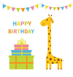 Happy birthday greeting card giraffe with spot vector