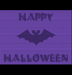 happy halloween of the bat silhouette on violet vector image