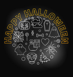 happy halloween round creative holiday line vector image