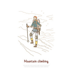 hiking mountain winter climbing female hiker vector image
