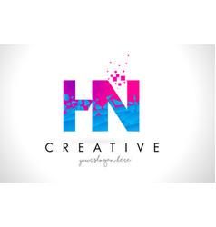 hn h n letter logo with shattered broken blue vector image