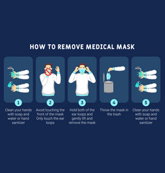 How to remove medical mask properly vector