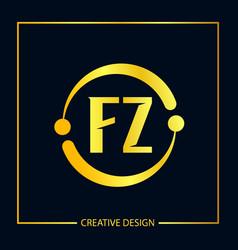 Initial fz letter logo template design vector