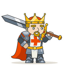 King warrior knight krown sword fantasy medieval vector