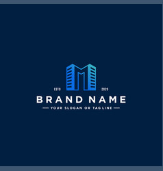 Letter m and building colorful logo design vector