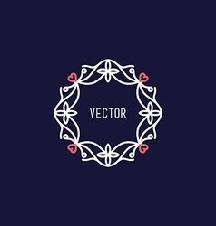 Line Art Floral Decoration Frame Design Template vector image