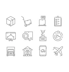 logistic icon set warehouse delivery boxes vector image