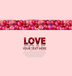 Love text red color with heart balloon on pink vector