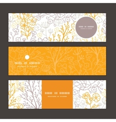 Magical floral horizontal banners set vector