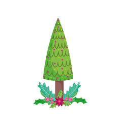 merry christmas celebration decorative tree vector image
