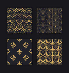 modern art deco seamless pattern gold black set vector image
