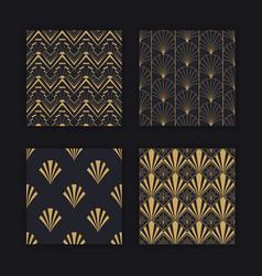 Modern art deco seamless pattern gold black set vector