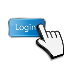 Mouse hand cursor on login button vector