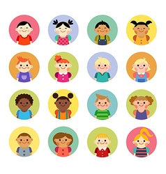 Multicultural national children avatars vector image
