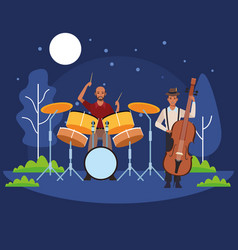 Musician playing bass and drums vector