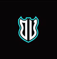 o u initial logo design with shield shape vector image