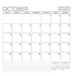 October 2020 monthly calendar planner template vector