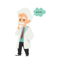 Old male scientist stands with thinking gesture vector