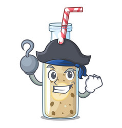 Pirate banana smoothie on a cartoon table vector
