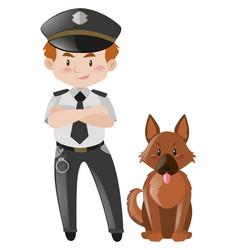 Policeman and brown dog vector