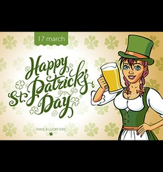 Pretty leprechaun girl with beer St Patricks Day vector