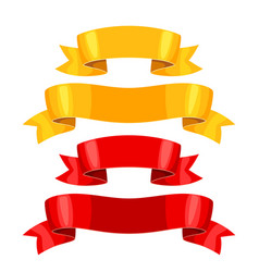 realistic gold and red ribbons set of banners for vector image