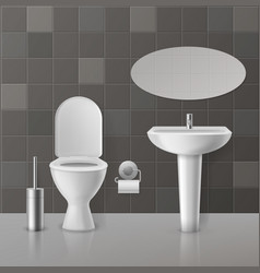 realistic toilet interior white toilets mockup vector image