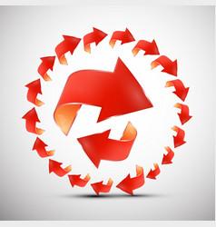 red arrows in circle arrow symbol set vector image