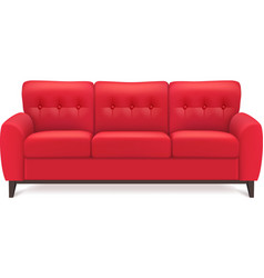 Red Leather Sofa Realistic vector