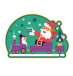 santa green with green tree and presentscute vector image