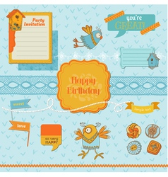 Scrapbook Design Elements - Cute Birds vector image