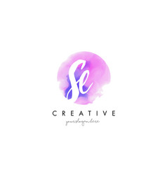 Se watercolor letter logo design with purple vector