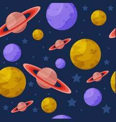 Seamless pattern with colorful planets vector