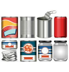 Set aluminium cans with label design on white vector