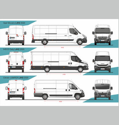 Set cargo delivery vans l4h2 2020 vector