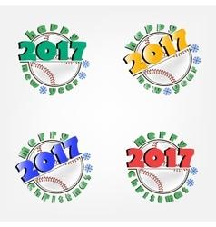 Set of baseball and new year vector