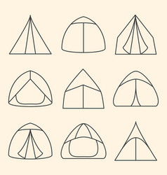 set of line art touristic tents vector image