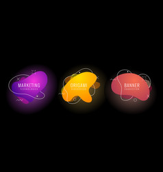 set of liquid color abstract geometric shapes vector image