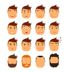 set of male facial emotions emoji character with vector image
