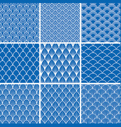Set of seamless backgrounds from fish scales vector