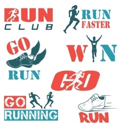 Set of vintage run club labels vector image