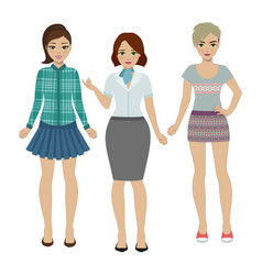 set of women in different clothes vector image