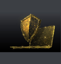 shield and laptop low poly vector image