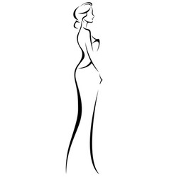 Silhouette of woman in elegant wedding dress vector