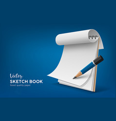 Sketch book white paper roll with pencil vector