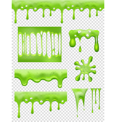 Slime green glue dipping and flowing liquid drops vector