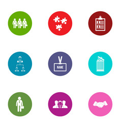 Squad icons set flat style vector