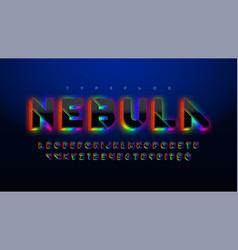 Stencil futuristic sci-fi alphabet extra glowing vector